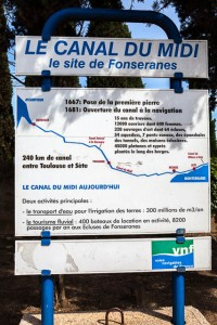Sign along the Canal du Midi